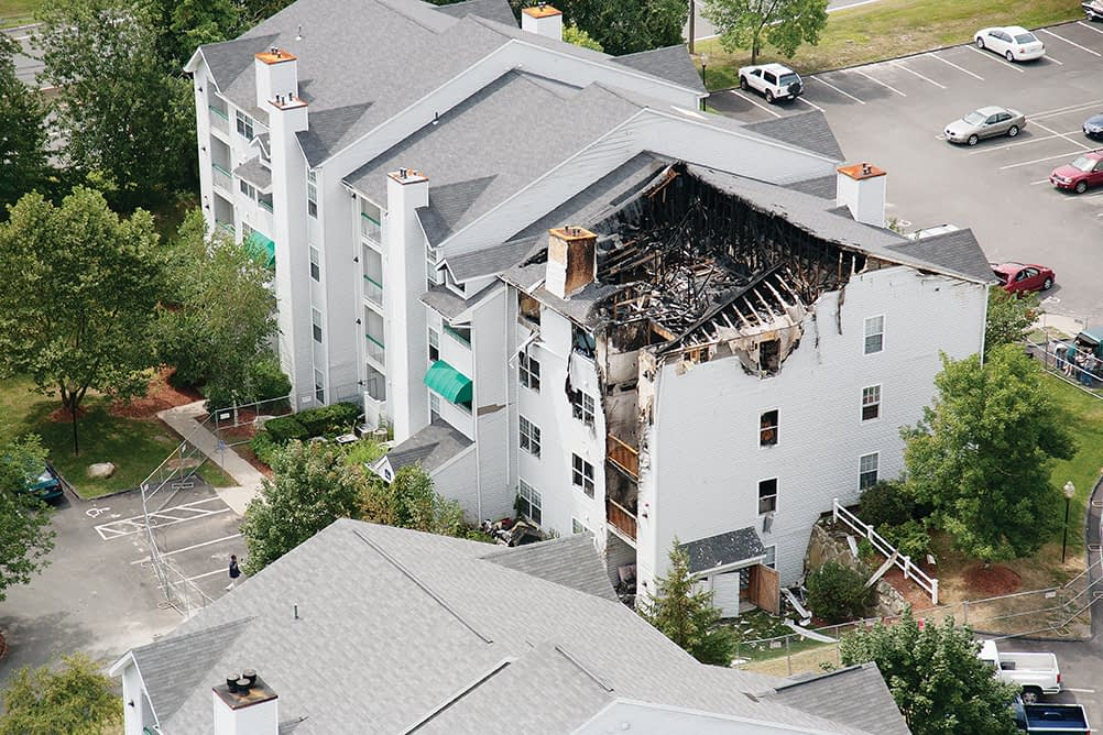 Apartment complex fire damage
