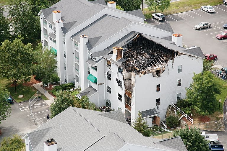 Apartment complex fire damage