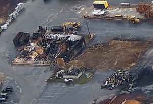 Lumber company fire damage